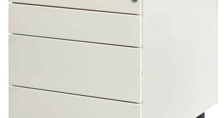 24Designs Ladeblok Neutral Verrijdbaar 3 Laden+1 Pennenlade – RAL9010 Wit | 8720195951735