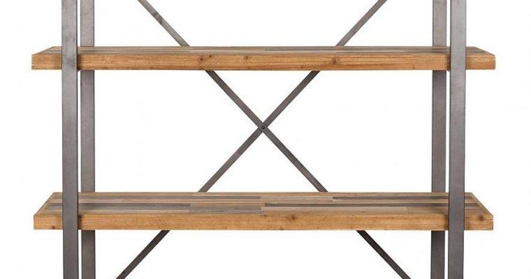 24Designs Liam Plankenkast – B120 X D39 X H149 Cm – Vurenhout Met Grijs Metaal | 8720143243783
