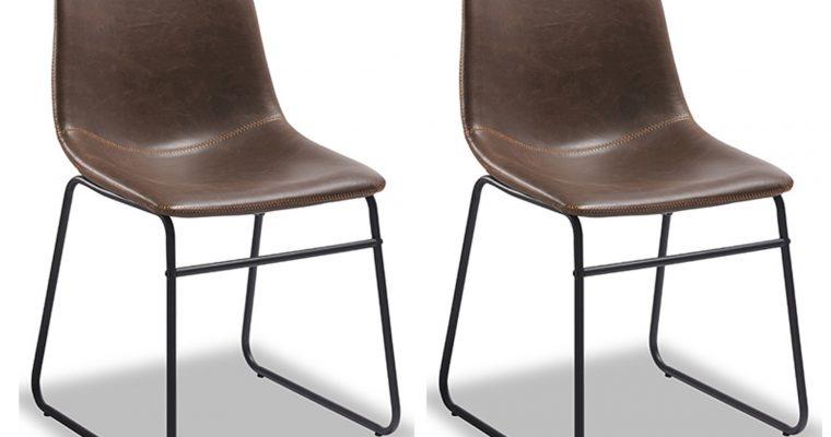24Designs Logan II Stoel – Set Van 2 – Kunstleer Donkerbruin – Zwart Metalen Onderstel | 8719874348461