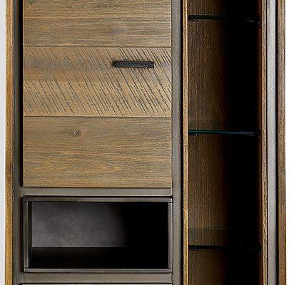 24Designs Malaga Wandkast – B55 X D35 X H100 Cm – Massief Acaciahout – Bruin-Grijs | 8720195956914