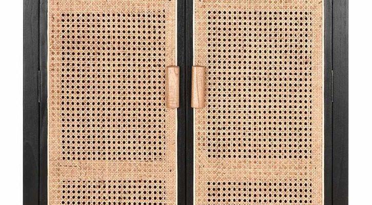 24Designs Provence Webbing Kast 2-Deurs – 80x40x140 Cm – Zwart Mindi Hout | 8720146500449