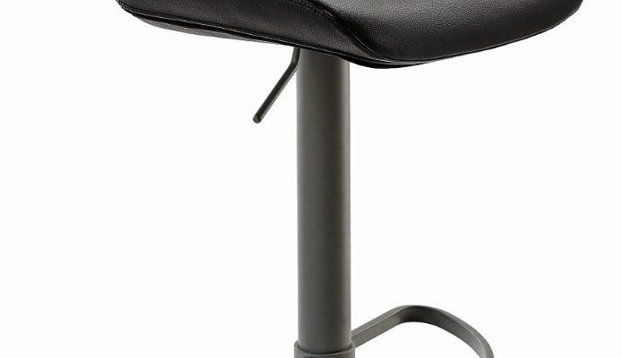 24Designs Verstelbare Barkruk Owen – Zitting Zwart Kunstleer – Grijs Onderstel | 8720143243462