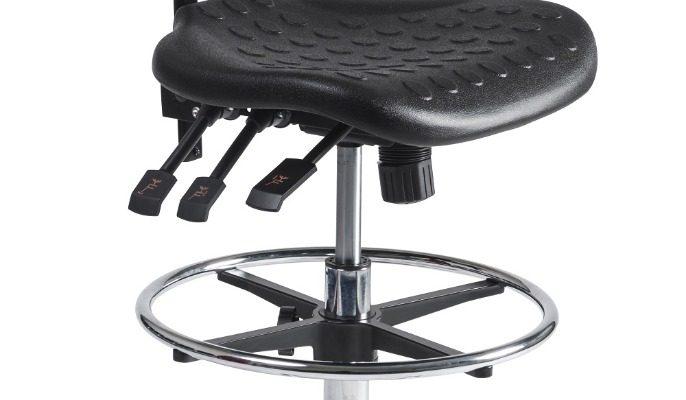 24Designs Werkstoel Hoog Alu – Verstelbare Zithoogte 57 – 83 Cm – Zwart | 8719874344203