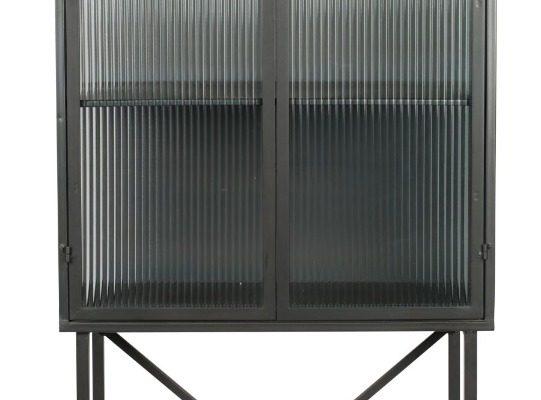 Dutchbone Boli Kast – B70xD34xH178 Cm – Glazen Deuren – Metalen Frame | 8718548053755