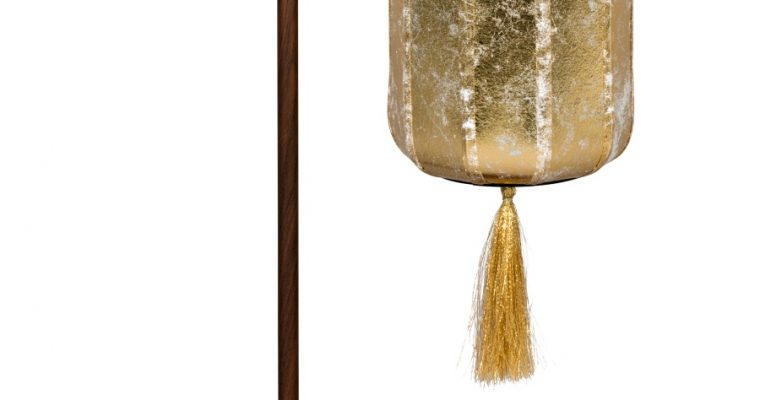 Dutchbone Suoni Tafellamp – B20xD20xH60 Cm – Gouden Lampenkap   8718548054141