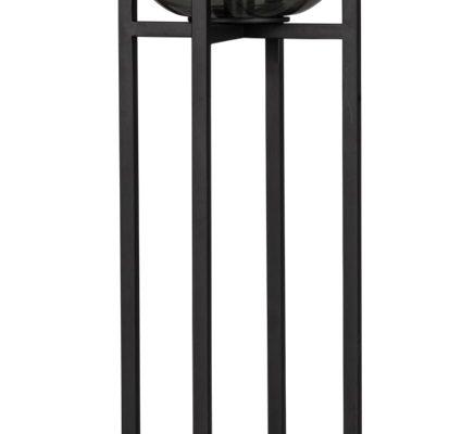 ETH Vloerlamp Benn – H115 Cm -Ø33 Cm – Rookglas En Zwart Metaal | 8719075185889