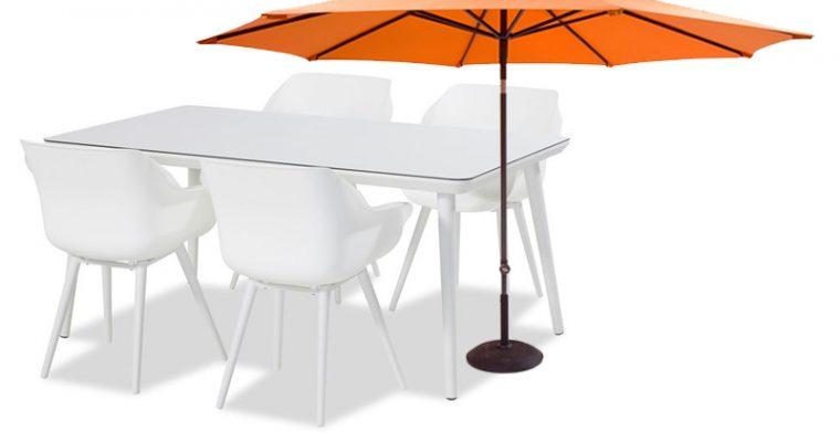 Hartman Sophie Studio Tafel Wit 4 Personen – L170 X B100 Cm + 4 Studio Stoelen + Gratis Parasol Twv.?109,95 | 8719874342407