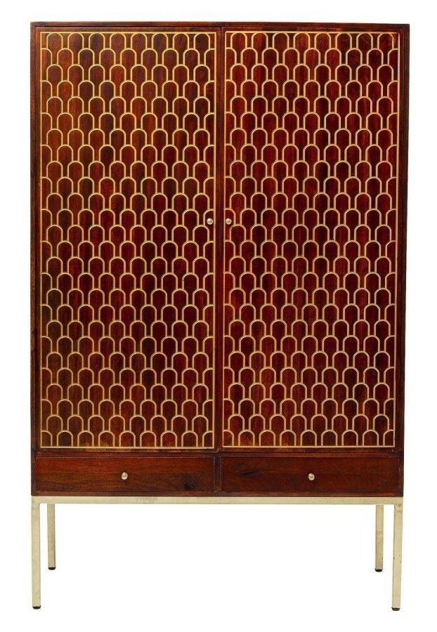 Kare Design Muskat Garderobekast – B115 X D54 X H180 Cm – Mangohout – Bruin | 4025621849216
