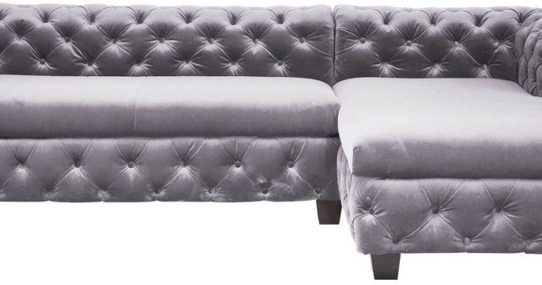 Kare Design Hoekbank My Desire – Chaise Longue Voorstaand Rechts – Fluweel – Grijs   4025621798927