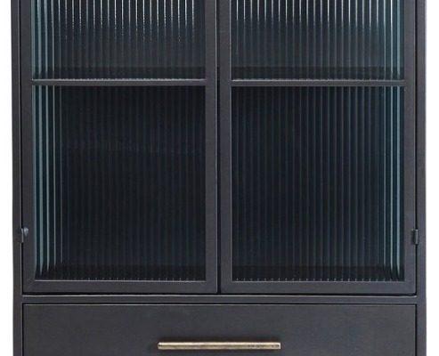 Kare Design La Gomera Vitrinekast 2-Deurs/3-Laden – 72 X 38 X 180 Cm – Zwart | 4025621841395