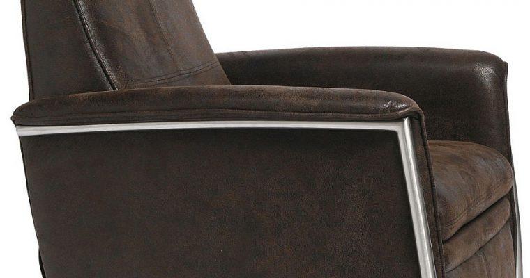 Kare Design Lazy Relaxfauteuil – Bruin Vintage Kunstleer – RVS Frame | 4025621750987