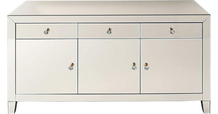 Kare Design Luxury Dressoir 3-Deuren/3-Lades – B140,5xD45xH77 Cm – Spiegelglas Champagne   4025621808978