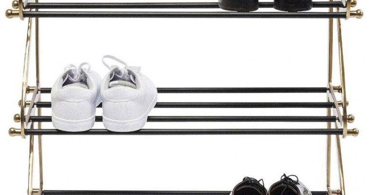 Kare Design Walk Five Schoenenrek – B66 X D34 X H100 Cm – Messing En Zwart Metaal | 4025621835035