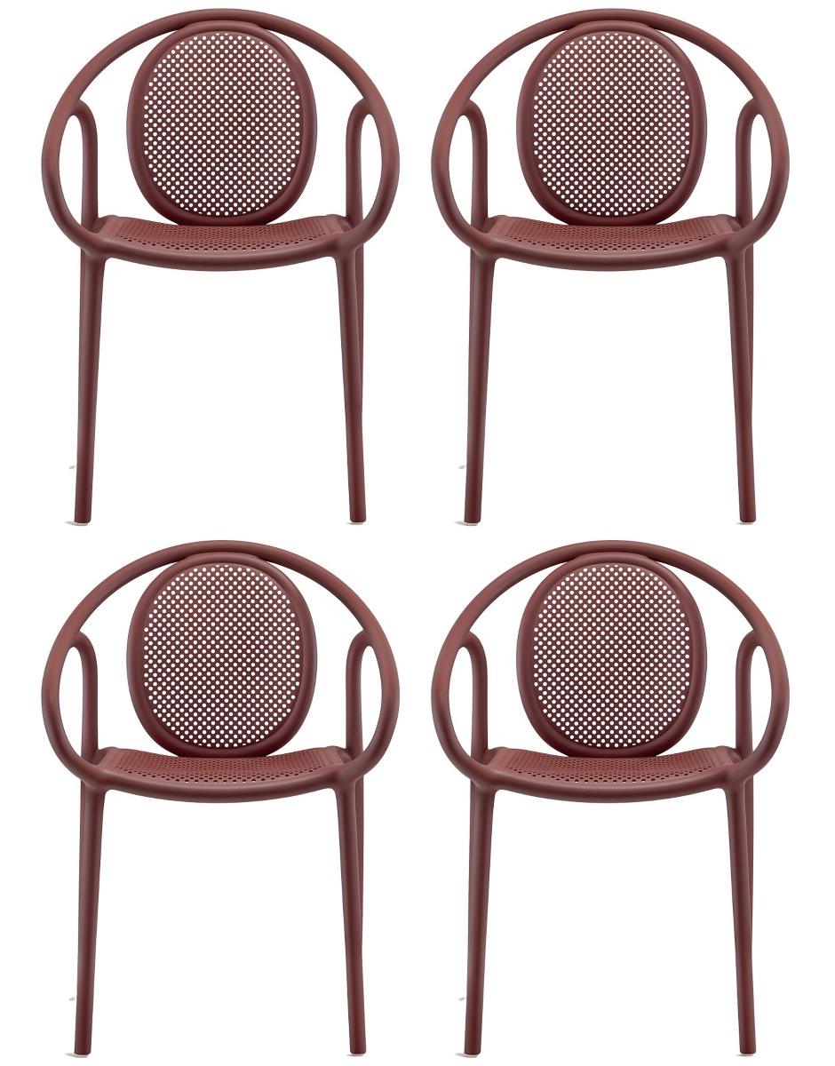 Pedrali Remind 3735 Tuinstoel&Terrasstoel – Set Van 4 – Rood Kunststof  
