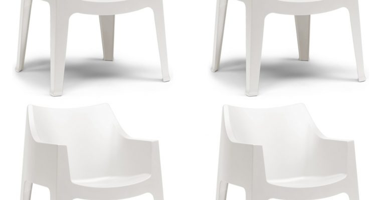 SCAB Design Coccolona Stapelbare Tuin&Terrasstoel – Set Van 4 – Ivoor Wit Polypropyleen | 8718692429239