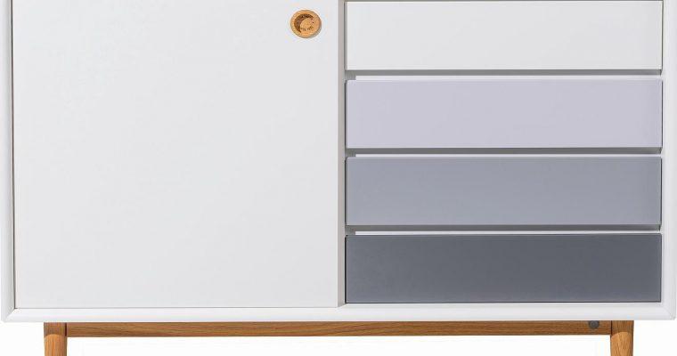 TOM TAILOR By Tenzo Color Box Dressoir 1-Deur/4-Laden – B114xD44xH80 Cm – Wit/Grijs | 8720195954361
