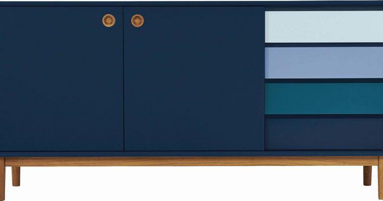 TOM TAILOR By Tenzo Color Box Dressoir 2-Deurs/4-Laden – B170xD44xH80 Cm – Blauw   8720195954415