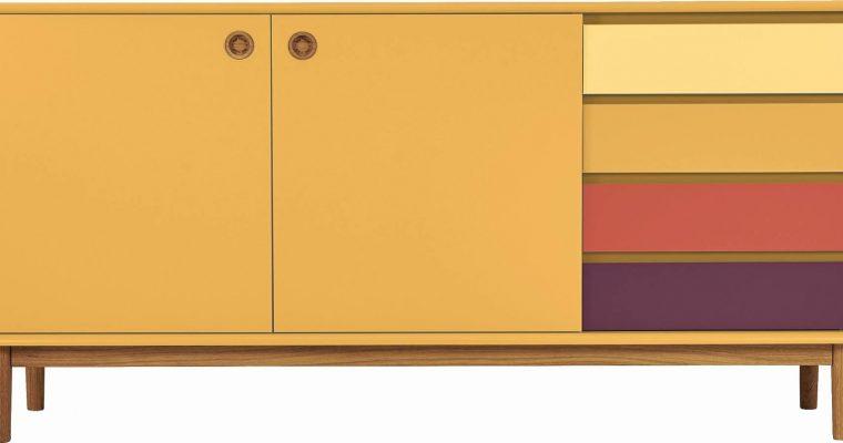 TOM TAILOR By Tenzo Color Box Dressoir 2-Deurs/4-Laden – B170xD44xH80 Cm – Mosterd | 8720195954408