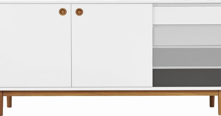 TOM TAILOR By Tenzo Color Box Dressoir 2-Deurs/4-Laden – B170xD44xH80 Cm – Wit/Grijs | 8720195954446