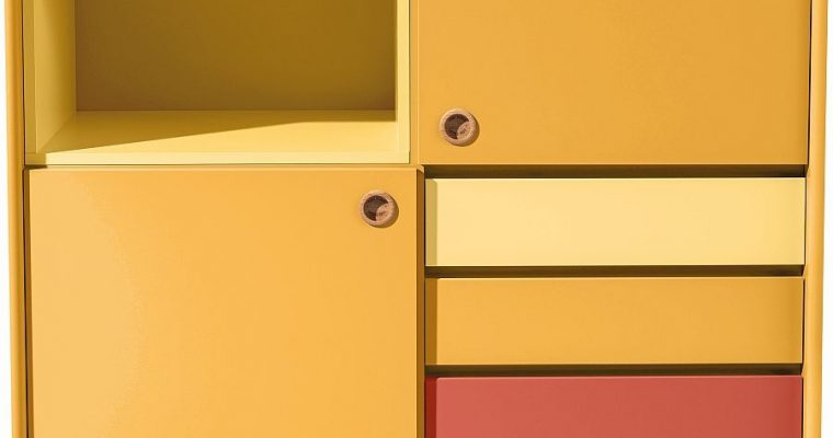 TOM TAILOR By Tenzo Color Box Kast 2-Deurs/4-Laden – B114 X D44 X H137 Cm – Mosterd | 8720195954309