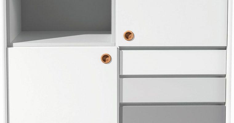 TOM TAILOR By Tenzo Color Box Kast 2-Deurs/4-Laden – B114 X D44 X H137 Cm – Wit/Grijs | 8720195954330