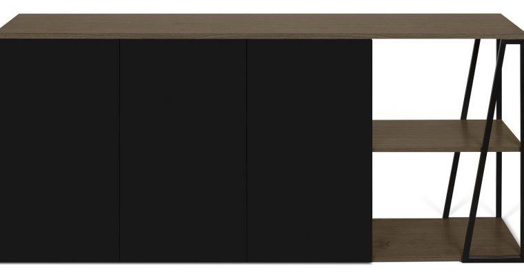TemaHome Albi Dressoir 3-Deurs – B190xD45xH81 – Zwart Metaal – Walnoot | 8720143248634