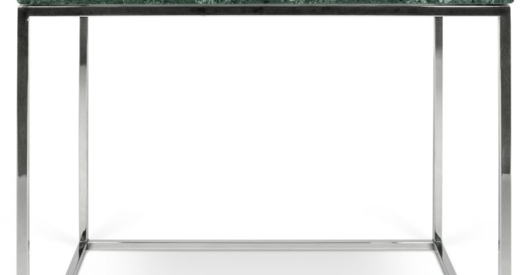 TemaHome Bijzettafel Gleam – L50 X B50 X H45 Cm – Groen Marmer – Chromen Onderstel   5603449626449