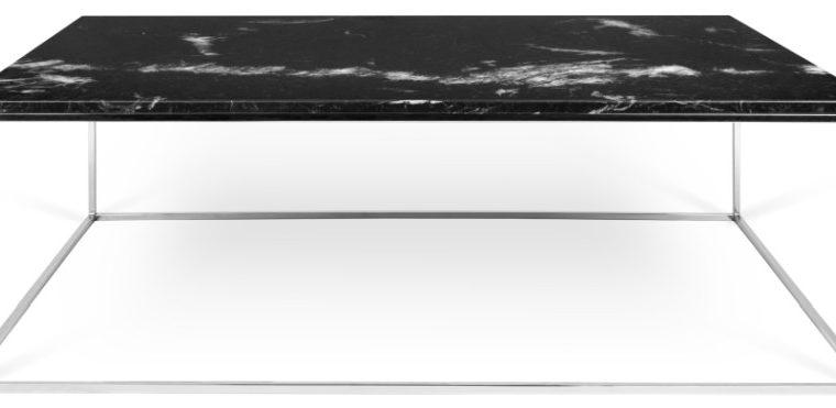 TemaHome Salontafel Gleam L120 X B75 X H40 Cm – Zwart Marmer – Chromen Onderstel | 5603449626098