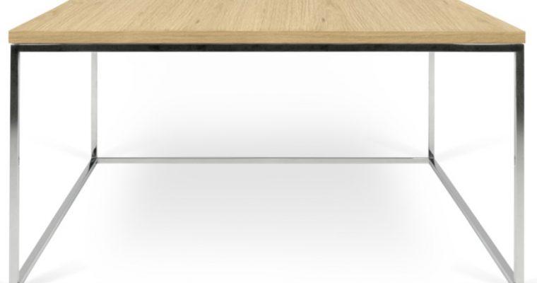 TemaHome Salontafel Gleam L75 X B75 X H40 Cm – Eiken Tafelblad – Chromen Onderstel | 5603449626630