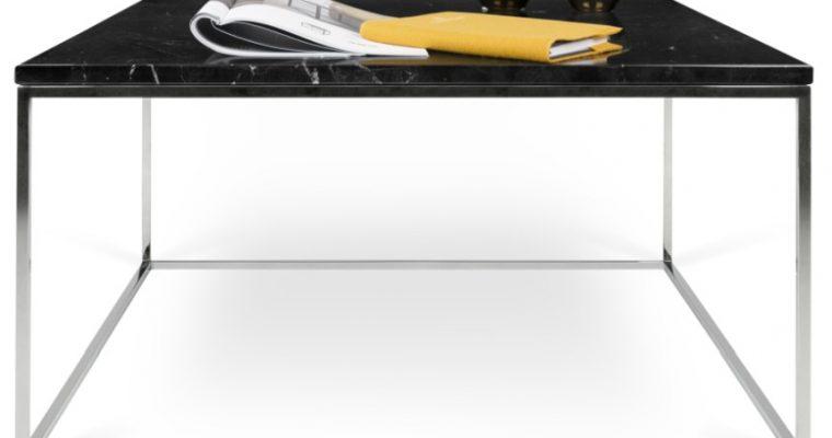 TemaHome Salontafel Gleam L75 X B75 X H40 Cm – Zwart Marmer – Chromen Onderstel | 5603449626203