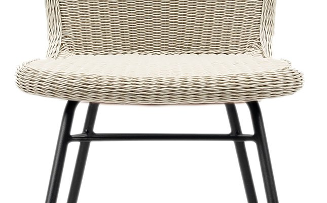 Vincent Sheppard Lena Dining Chair – Tuinstoel – RVS Onderstel – Zitting Wicker – Old Lace/Beige   8720195953692