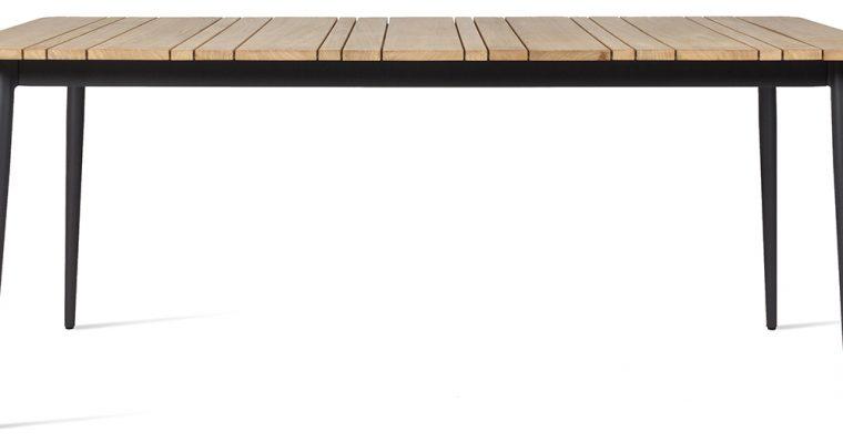 Vincent Sheppard Leo Tuintafel Lava Grijs Onderstel – L180 X B90 X H75 Cm – Teak Blad |