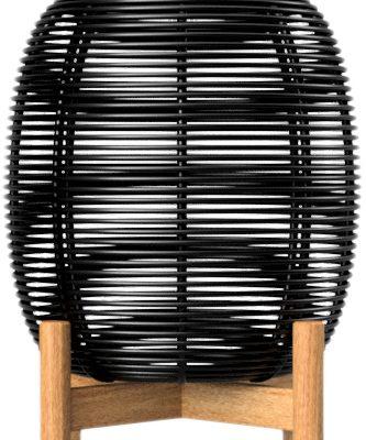 Vincent Sheppard Tika – Wicker Solar LED Lantaarn – Hoogte 59 Cm – Zwart | 8720195954699
