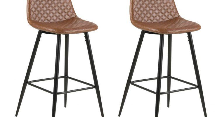 24Designs Barkruk Ludvig – Zithoogte 75 Cm – Set Van 2 – Cognac Bruin Kunstleer – Zwarte Metalen Poten | 8719874344807