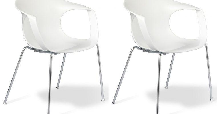 24Designs Brescia Stapelbare Stoel – Set Van 2 – Zitting Wit – Chromen Onderstel | 8720143242977