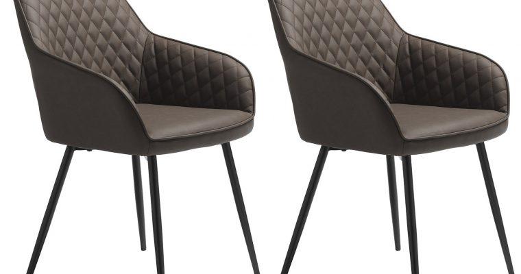 24Designs Carter Stoel – Set Van 2 – Kunstleer Donkerbruin – Zwarte Metalen Poten | 8719874349567