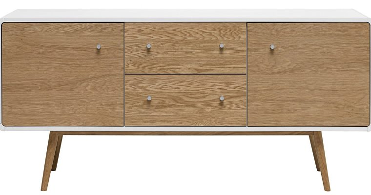 24Designs Dressoir Hedmark 2 Deurs/2 Laden – 150x42x71 – Wit – Eiken | 8720143241451