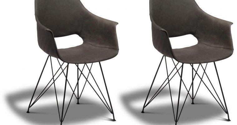 24Designs Elvis Stoel – Set Van 2 – Kunstleer – Metalen Onderstel – Grijs | 8720195955818