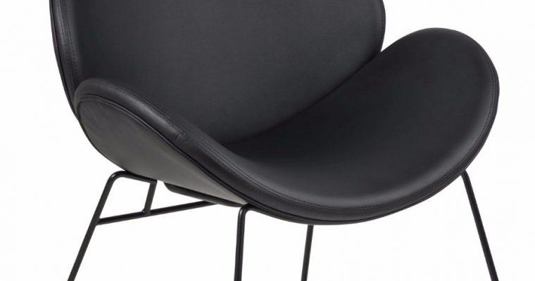 24Designs Fauteuil Carson – Zwart Metalen Onderstel – Zwarte Kunstleren Zitting | 8719323476998