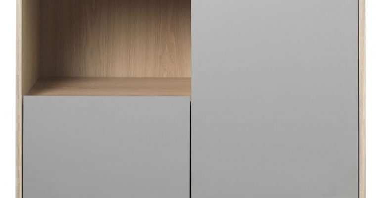 24Designs Harstad Kast 1 Deur/1 Lade – 100x45x150 – Grijs HPL – Eiken White Wash | 8720143245374