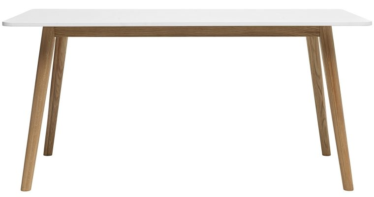 24Designs Hedmark Eettafel – 160x90x75 – Wit Tafelblad – Eiken Poten | 8720143241468
