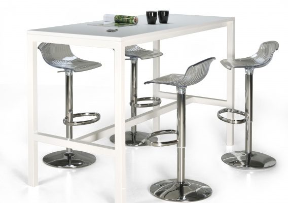 24Designs Hoge Bartafel Werktafel En Statafel Block – L160 X B60 X H110 Cm – Wit   8719874348393