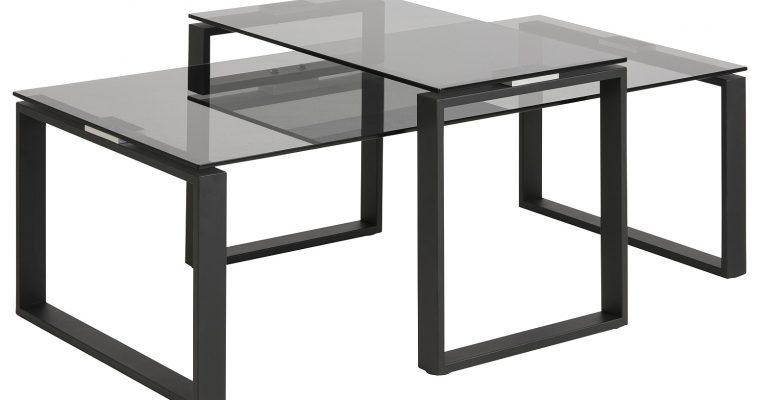24Designs Salontafel Serenity – Tafelblad Smoke Glas – Mat Zwart Metalen Onderstel | 8720143247293