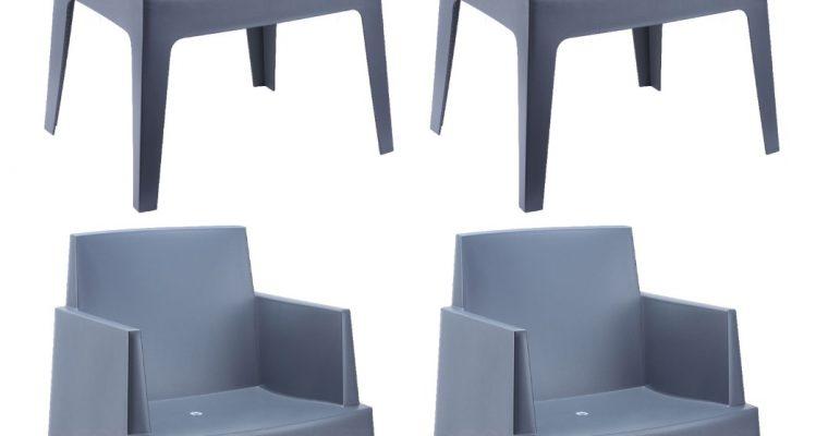 24Designs Set 4 Tuinstoelen Box – Antraciet | 8718692420496