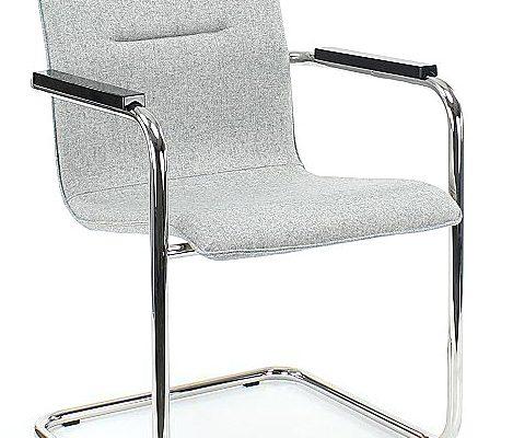 24Designs Stoel Eastwood Armleuningen – Stof Lichtgrijs – Chromen Sledeframe | 8720143248986