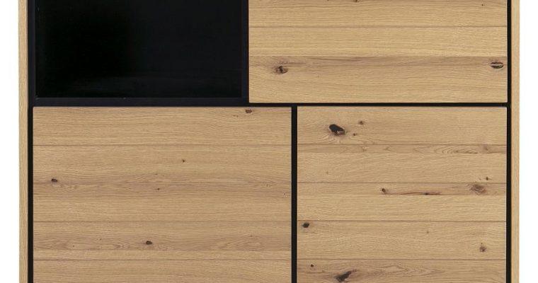 24Designs Vestvik Kast 3 Deurs – 102x45x125 – Eiken – Zwart Metalen Onderstel | 8720143245084