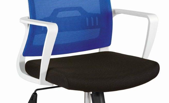 24Designs Vision Bureaustoel – Stof Blauw/Zwart – Witte Kruispoot | 8720143241581