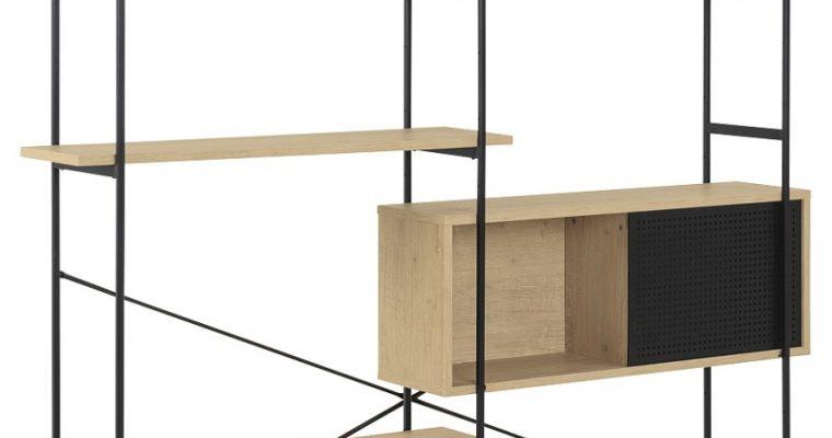 24Designs Wandkast Billund – 172x27x188 – Eiken Decor – Metalen Frame | 8720143242427