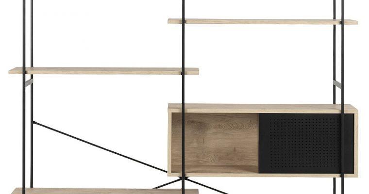 24Designs Wandkast Billund – 172x27x188 – Eiken White Wash Decor – Metalen Frame | 8720143242434