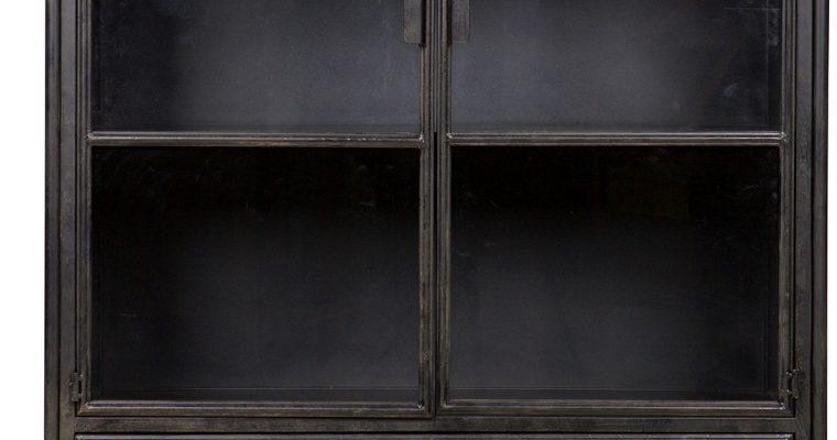 BePureHome Vitrinekast Steel – L105 X B40 X H183.5 Cm – Metaal – Zwart | 8714713054084